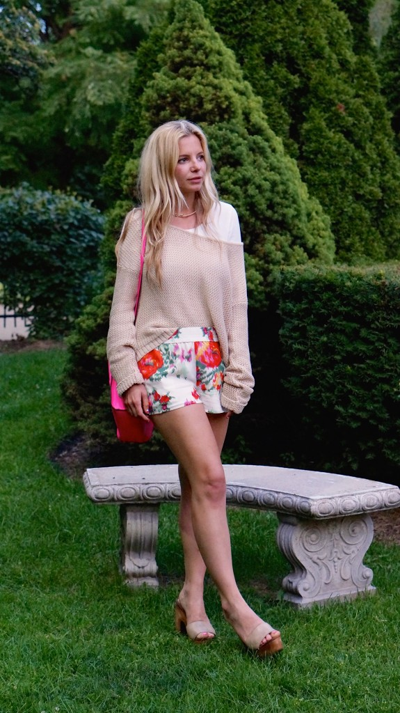 knitted sweater, floral joie shorts