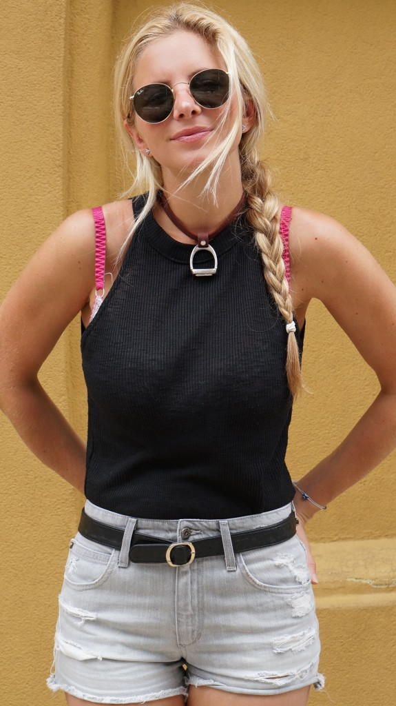 brown leather mini stirrup necklace