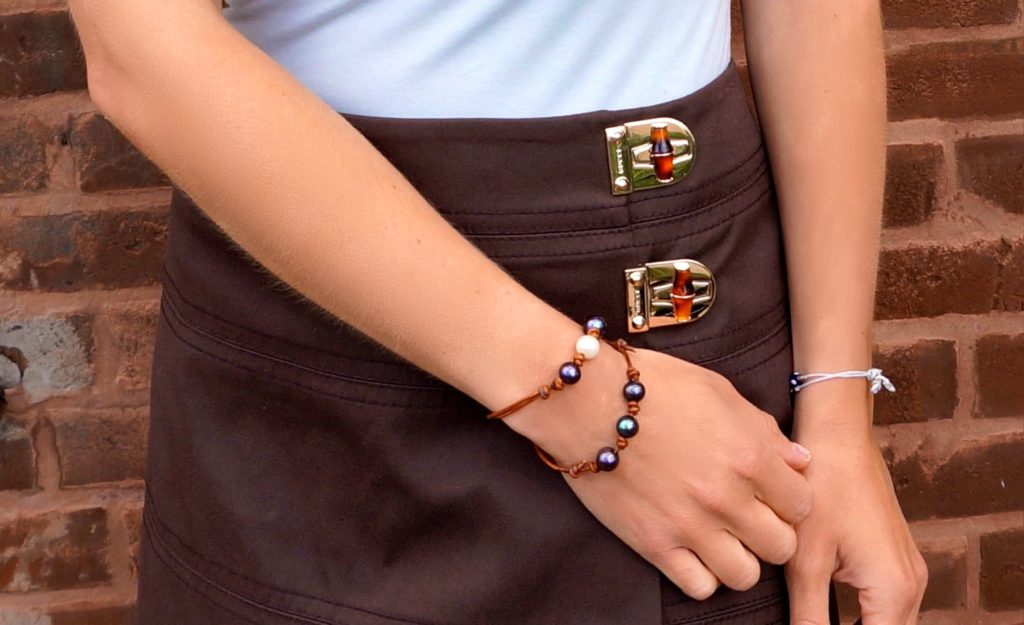 peacock pearl and leather bracelets