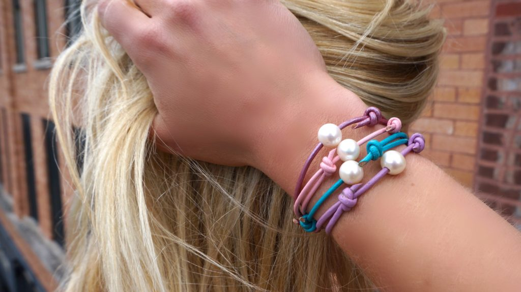 Pearl and Leather Stacking Bracelets