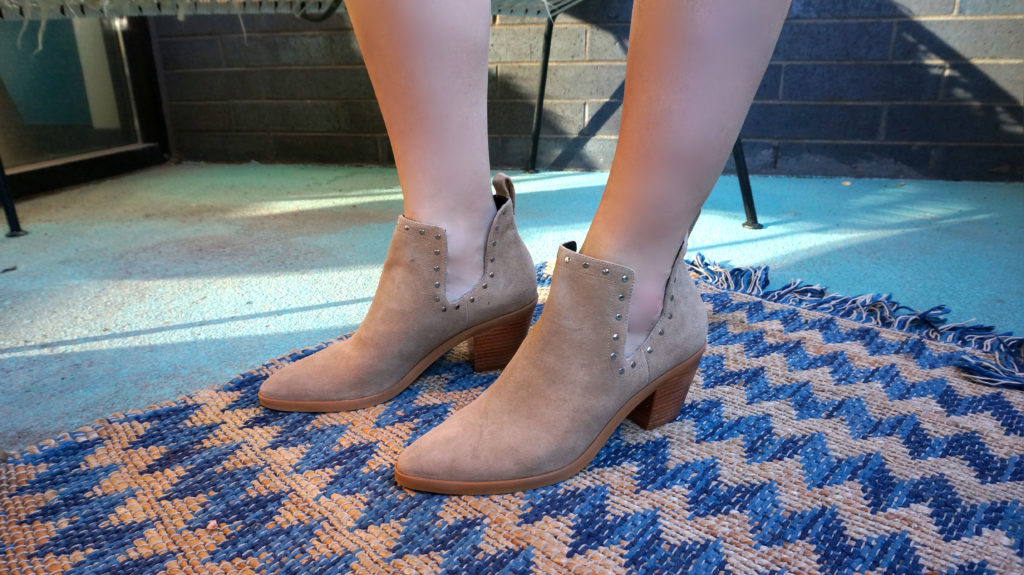 Studded suede cutout booties