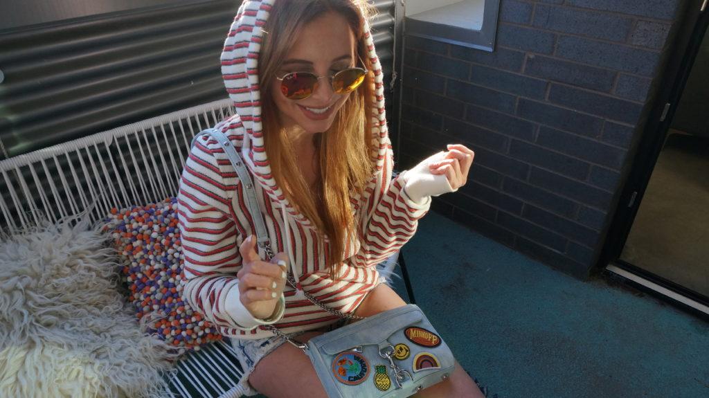 striped women's hoodie